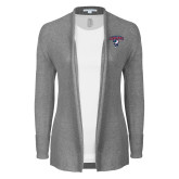 Ladies Heather Grey Open Front Cardigan-Columbus State Cougars w/ Cougar Arched