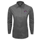 Ladies Grey Tonal Pattern Long Sleeve Shirt-Columbus State Cougars w/ Cougar Arched