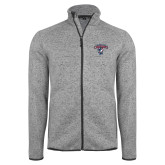 Grey Heather Fleece Jacket-Columbus State Cougars w/ Cougar Arched