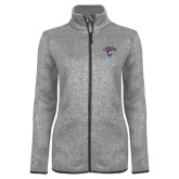Grey Heather Ladies Fleece Jacket-Columbus State Cougars w/ Cougar Arched
