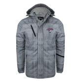Grey Brushstroke Print Insulated Jacket-Columbus State Cougars w/ Cougar Arched