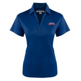 Ladies Navy Performance Fine Jacquard Polo-Arched Columbus State Cougars