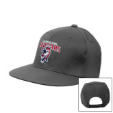 Charcoal Flat Bill Snapback Hat-Columbus State Cougars w/ Cougar Arched