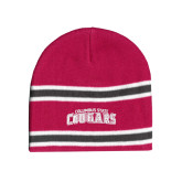 Pink/Charcoal/White Striped Knit Beanie-Arched Columbus State Cougars