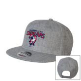 Heather Grey Wool Blend Flat Bill Snapback Hat-Columbus State Cougars w/ Cougar Arched