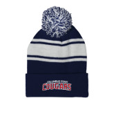 Navy/White Two Tone Knit Pom Beanie w/Cuff-Arched Columbus State Cougars