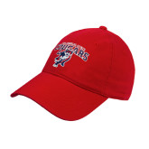 Red Twill Unstructured Low Profile Hat-Columbus State Cougars w/ Cougar Arched