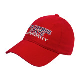 Red Twill Unstructured Low Profile Hat-Columbus State University Stacked