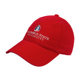 Red Twill Unstructured Low Profile Hat-Institutional Mark