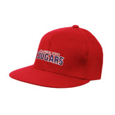 Red OttoFlex Flat Bill Pro Style Hat-Arched Columbus State Cougars