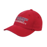 Red Flexfit Structured Low Profile Hat-Columbus State University Stacked