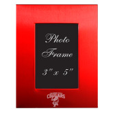 Red Brushed Aluminum 3 x 5 Photo Frame-Columbus State Cougars w/ Cougar Arched Engraved