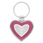 Silver/Pink Heart Key Holder-Columbus State Cougars w/ Cougar Arched Engraved
