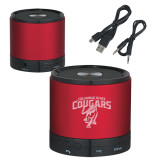 Wireless HD Bluetooth Red Round Speaker-Columbus State Cougars w/ Cougar Arched Engraved