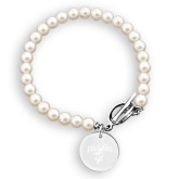 Olivia Sorelle Silver Round Pendant Pearl Bracelet-Columbus State Cougars w/ Cougar Arched Engraved