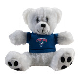 Plush Big Paw 8 1/2 inch White Bear w/Navy Shirt-Columbus State Cougars w/ Cougar Arched