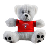 Plush Big Paw 8 1/2 inch White Bear w/Red Shirt-Columbus State Cougars w/ Cougar Arched