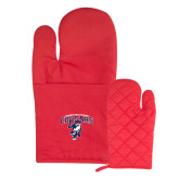 Quilted Canvas Red Oven Mitt-Primary Mark