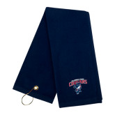 Navy Golf Towel-Columbus State Cougars w/ Cougar Arched