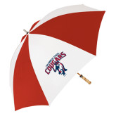 62 Inch Red/White Vented Umbrella-Columbus State Cougars w/ Cougar Arched