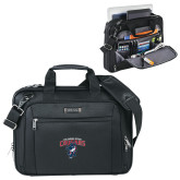 Kenneth Cole Black Vertical Checkpoint Friendly Messenger-Columbus State Cougars w/ Cougar Arched