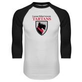 White/Black Raglan Baseball T Shirt-Mascot