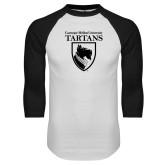 White/Black Raglan Baseball T Shirt-Mascot One Color