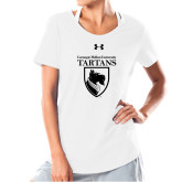 Ladies Under Armour White Charged Cotton Tee-Mascot One Color