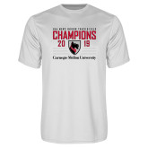 Performance White Tee-2019 UAA Mens Indoor Track and Field Champions