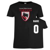 Ladies Black T Shirt-Mascot, Custom tee w/ name and #