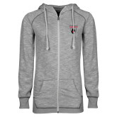 ENZA Ladies Grey/Black Marled Full Zip Hoodie-Mascot
