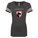 ENZA Ladies Black/White Vintage Football Tee-Mascot