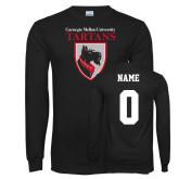 Black Long Sleeve T Shirt-Mascot, Custom tee w/ name and #