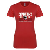 Next Level Ladies SoftStyle Junior Fitted Red Tee-2019 UAA Mens Indoor Track and Field Champions