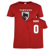 Ladies Red T Shirt-Mascot, Custom tee w/ name and #
