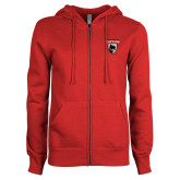 ENZA Ladies Red Fleece Full Zip Hoodie-Mascot