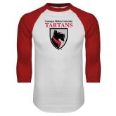 White/Red Raglan Baseball T Shirt-Mascot