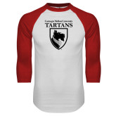 White/Red Raglan Baseball T Shirt-Mascot One Color