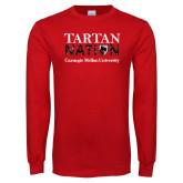 Red Long Sleeve T Shirt-Tartan Nation