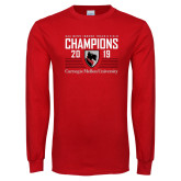 Red Long Sleeve T Shirt-2019 UAA Mens Indoor Track and Field Champions