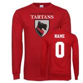 Red Long Sleeve T Shirt-Mascot, Custom tee w/ name and #