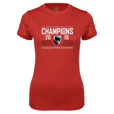 Ladies Syntrel Performance Red Tee-2019 UAA Mens Indoor Track and Field Champions