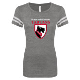 ENZA Ladies Dark Heather/White Vintage Football Tee-Mascot