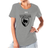 Ladies Under Armour Grey Charged Cotton Tee-Mascot One Color