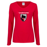 Ladies Red Long Sleeve V Neck Tee-Mascot