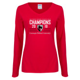 Ladies Red Long Sleeve V Neck Tee-2019 UAA Mens Indoor Track and Field Champions
