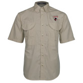 Khaki Short Sleeve Performance Fishing Shirt-Mascot Embroidery
