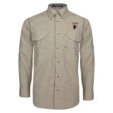 Khaki Long Sleeve Performance Fishing Shirt-Mascot Embroidery