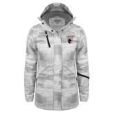 Ladies White Brushstroke Print Insulated Jacket-Mascot Embroidery