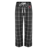 Black/Grey Flannel Pajama Pant-Mascot Embroidery